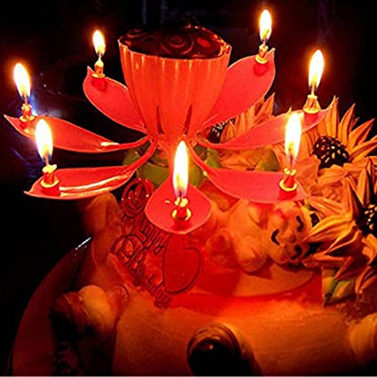 Birthday Candles Beautiful Musical Lotus Flower Happy Party Gift Rotating Lights Decoration 8 Lamp