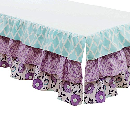 Zoe Lavender and Purple Floral and Geometric Prints Layered Crib Dust ()