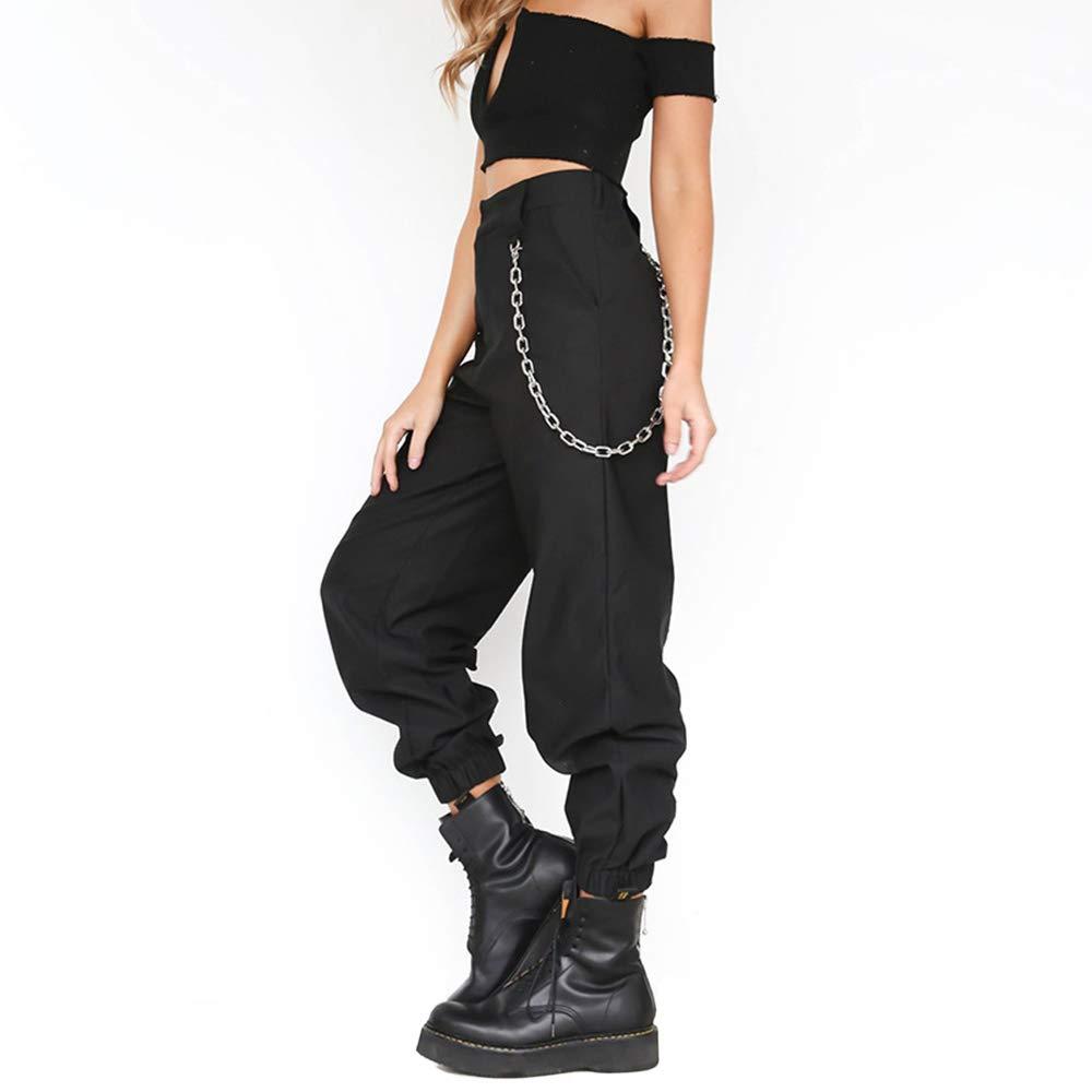 SQUAREDO Mujeres Cargo Pantalones Slacks Casual Harem Baggy Hip Hop Baile Al Aire Libre Jogging Pantalones de Sudadera con Cadena