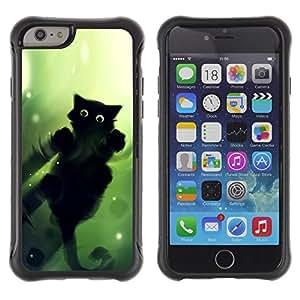 "Pulsar iFace Series Tpu silicona Carcasa Funda Case para Apple iPhone 6+ Plus(5.5 inches) , Negro Ojos verdes del gato caminar sobre el agua Wizzard"""
