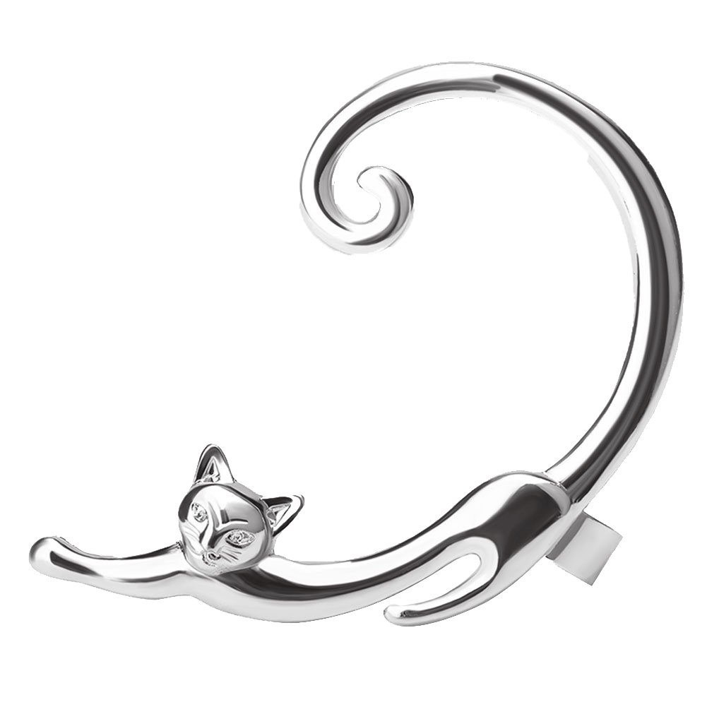 bjduck99 1Pc Women Fashion Cartoon Cat Earrings Piercing Ear Cuff Wraps Party Jewelry - Silver