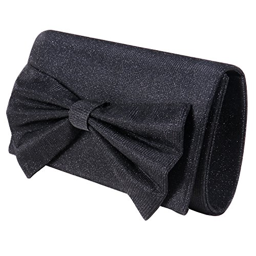 Women Satin Clutch Bow Tie Purse Shiny Wedding Evening Handbag for Party Cocktail Wedding Envelope Purse (Womens Bow Clutch)