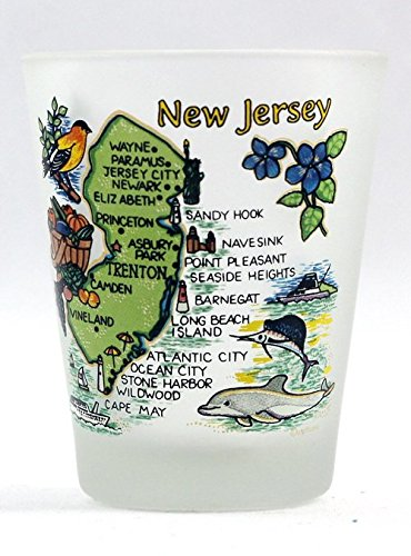 Collectible Shot Glass - New Jersey Map Frosted Shot Glass