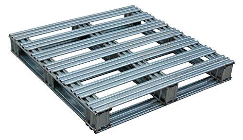 Vestil SPL-3636 Galvanized Finished Steel Pallet, Uniform Floor Static Capacity 8000 lb, Uniform Fork Dynamic Capacity 4000 lb, Unsupported Pallet Rack Capacity 2200 lb, 36