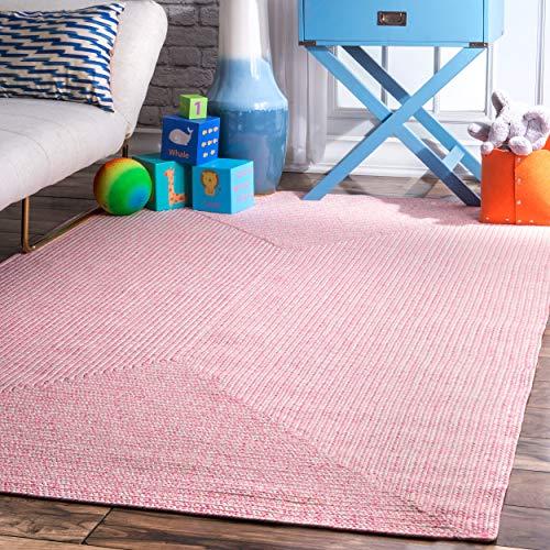 nuLOOM Lefebvre Braided Indoor/Outdoor Rug, 3' x 5', Pink (Indoor Outdoor Pink Rugs)