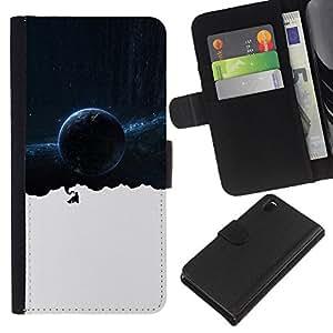 """A-type (Espacio Galaxy Pensamientos"""") Colorida Impresión Funda Cuero Monedero Caja Bolsa Cubierta Caja Piel Card Slots Para Sony Xperia Z3 D6603"""