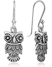925 Oxidized Sterling Silver Detailed Vintage Owl Wisdom Bird Dangle Hook Earrings 1.2""