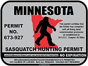 JS Artworks Minnesota Sasquatch Hunting Permit License Bigfoot Vinyl Sticker Decal