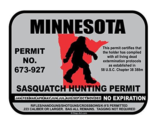 JS Artworks Minnesota Sasquatch Hunting Permit License Bigfoot Vinyl Sticker Decal