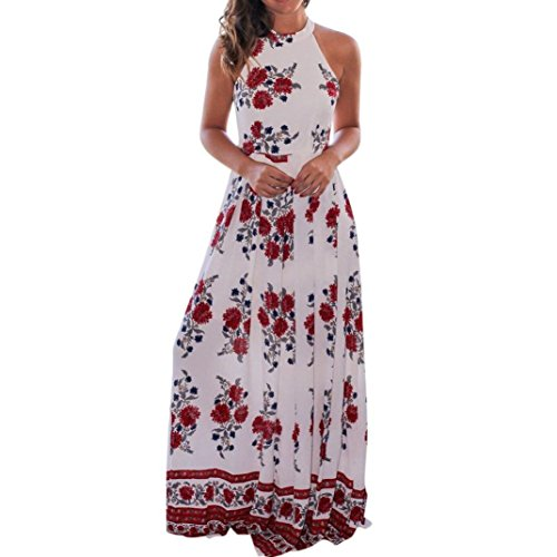 Price comparison product image TIFENNY Lady Summer Halter Neck Sleeveless Floral Printed Long Maxi Dress (M,  White)