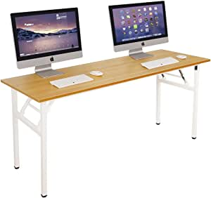 Need Computer Desk Office Desk 62 inches Folding Table with BIFMA Certification Conference Table Workstation,Teak White