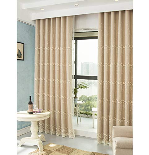 Beige Double-layer Modern Minimalist Curtain Finished Shade Black Fresh Embroidered Gauze Fashion Bedroom Living Room White Bay Window Landing,Dimensions(height Width): 2.5X2M, 2.5X2.5M, 2.5X3M, 2.5X ()
