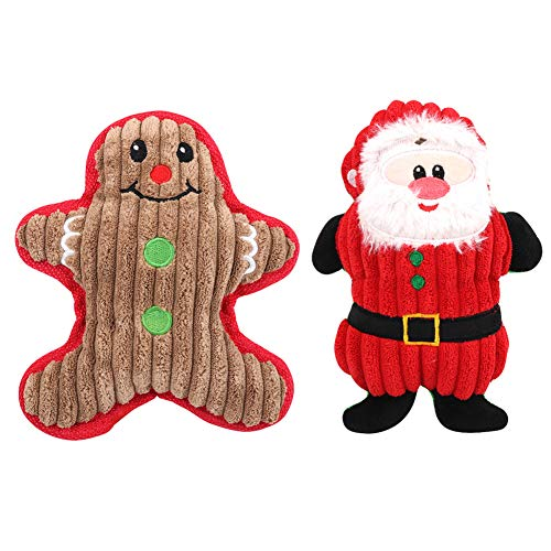 Christmas Dog Squeaky Plush Toys 2 Pack, Cute Santa Claus and Snowman Pet Chew Toy for Small Medium Dogs