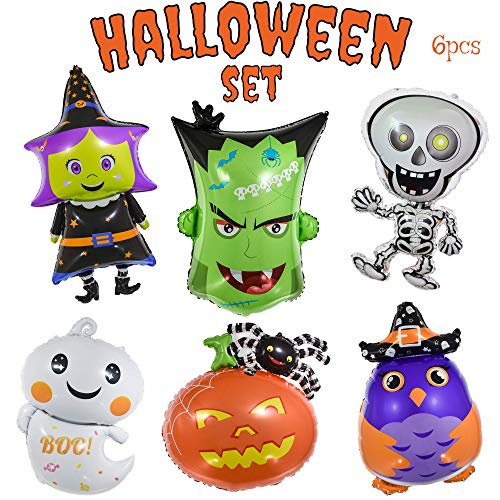 Monster Halloween Party (OMG Party Factory - Halloween Balloons - Giant 6pcs Mylar Foil Balloon Set Including Pumpkin Witch Skeleton Ghost Monster | Halloween Party Decorations &)