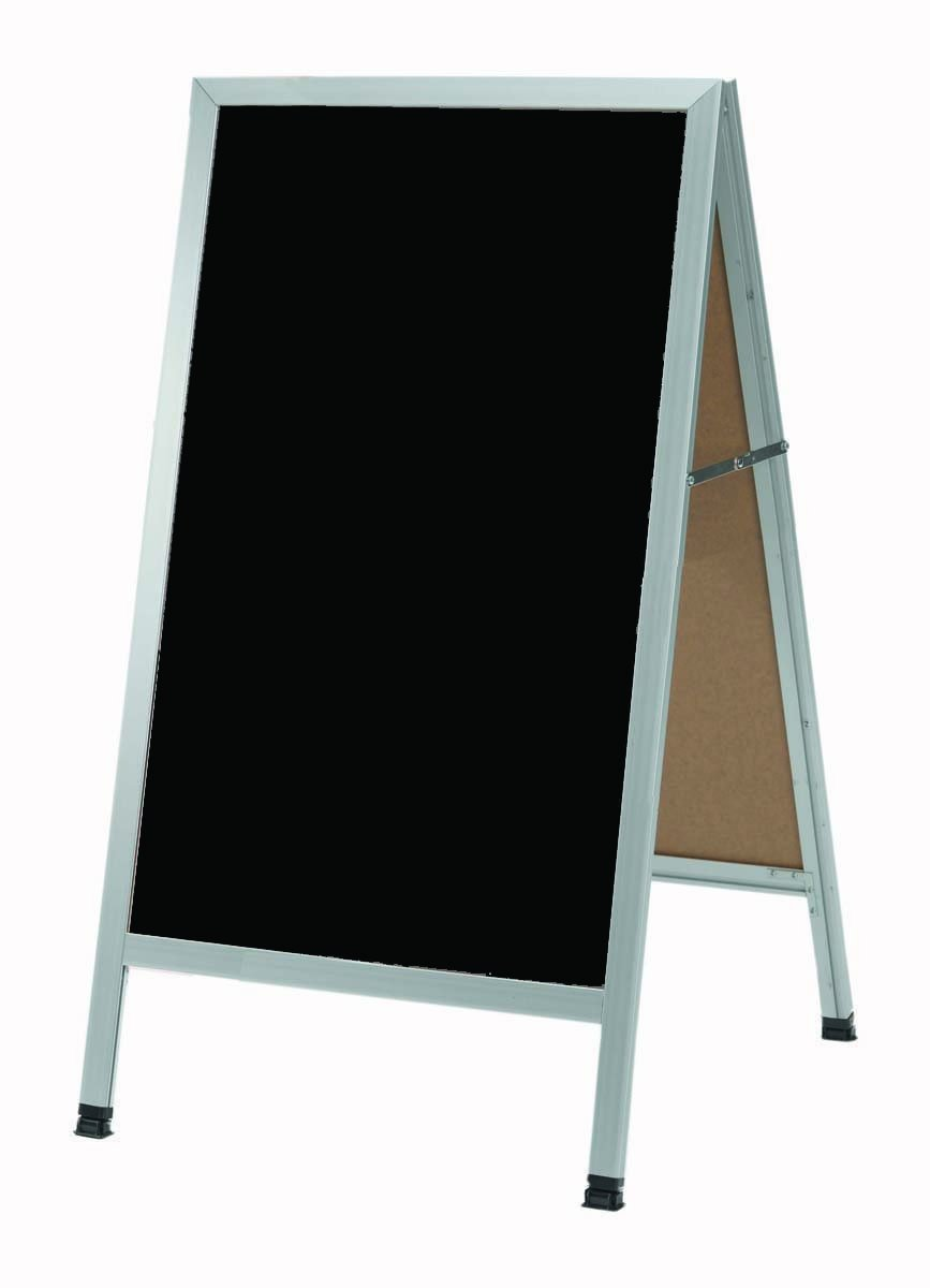 Aarco Products, Inc. AA-1B A-Frame Sidewalk Board Features a Black Composition Chalkboard and Clear Satin Anodized Aluminum Frame Size 42 in.Hx24 in.W