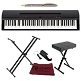 Yamaha P255B digital portable piano 88 key weighted Graded Hammer Action digital piano keyboard , Pure CF Sound with App for iOS/Mac Bundle with Yamaha Stand and Casio Piano Bench