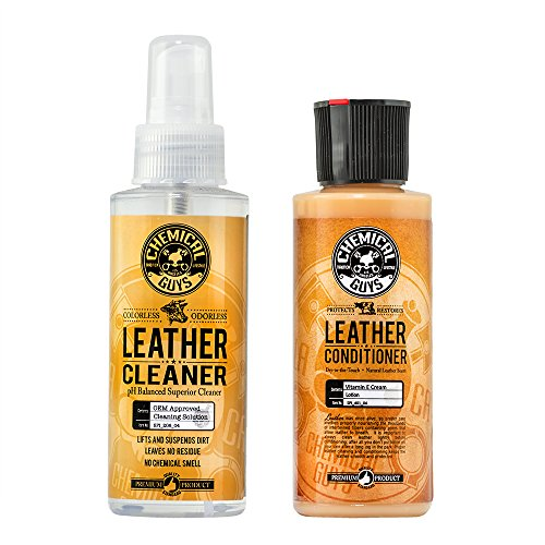 (Chemical Guys Leather Cleaner and Conditioner Complete Leather Care Kit (4 oz) (2 Items))