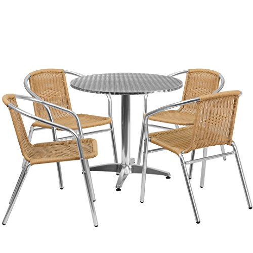 MFO 31.5'' Round Aluminum Indoor-Outdoor Table with 4 Beige Rattan Chairs