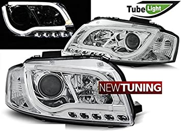 Faros delantero Audi a3 8p 05.03 - 03.08 Tubo LED Lights cromado: Amazon.es: Coche y moto
