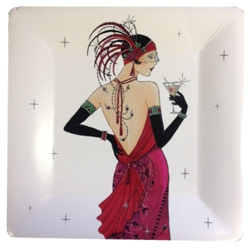 ART DECO CHIC COCKTAIL PARTY PLATES ~ 8 Per Pack ~ Ideal For: 18th / 21st / 40th / 50th / Birthday / Anniversary / Adults / Hor D'Oeuvres (1 Pack) MustBeBonkers