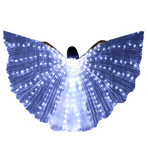 MEANIT LED Butterfly Wings Belly Dance Costumes Glowing Performance Clothing with Telescopic Stick for Carnival, Stage White