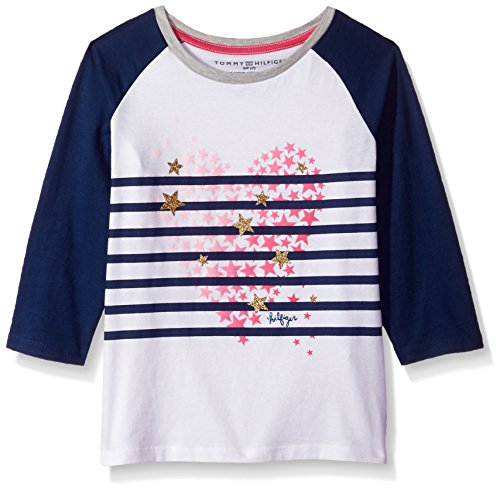 Tommy Hilfiger Big Girls' Stripe Heart Tee, White, Large