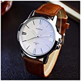 LinTimes Fashion Elegant Mens Watch Quartz Analog Business Leisure Wristwatch Brown Band White Dial
