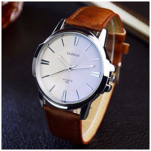 Brown Face - LinTimes Fashion Elegant Mens Watch Quartz Analog Business Leisure Wristwatch Brown Band White Dial