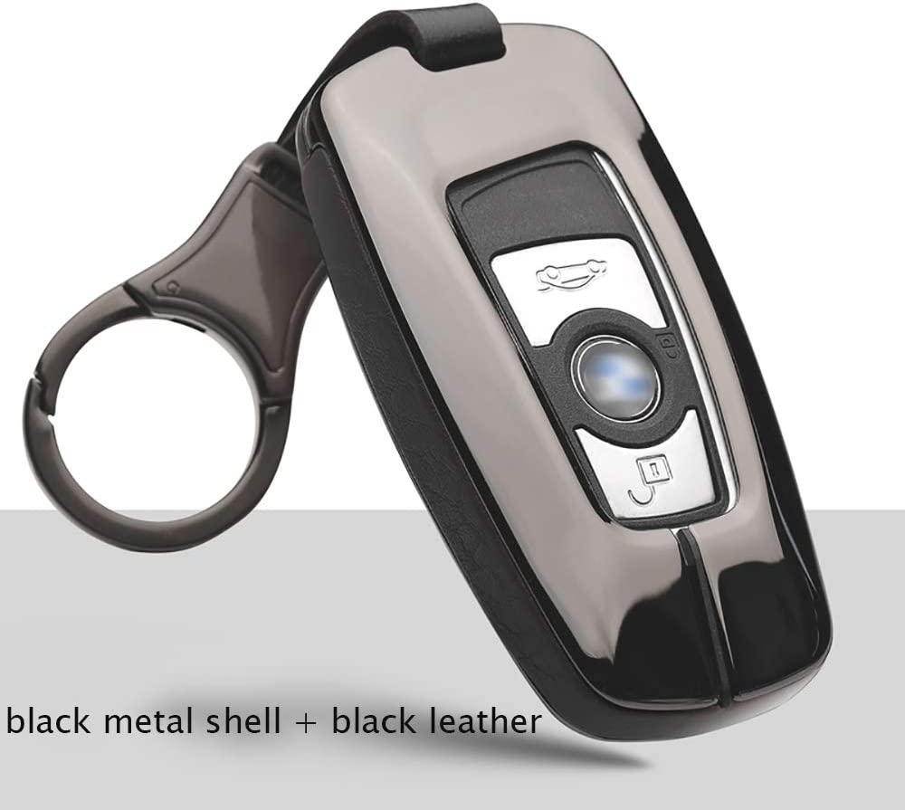 ontto for BMW Key fob Cover with Keychain Metal Zinc Alloy Keycase Leather Key Skin Fit for BMW 1 3 4 5 6 Series Red