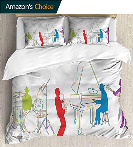 - Home Duvet Cover Set,Box Stitched,Soft,Breathable,Hypoallergenic,Fade Resistant Print Quilt Cover Set White Queen Pattern Bedding Collection-Music Retro Jazz Band Music (79