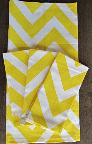 Yellow Chevron Cotton Cloth Napkins