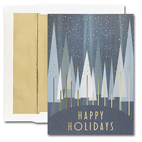 JAM Paper Blank Christmas Card Sets - Contemporary Treeline - 25/Pack - Treeline Pack