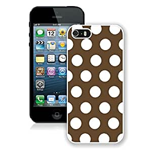 Cute Apple Iphone 5s Case Polka Dot Dark Brown and White TPU Durable Soft Silicone White Speck Phone Cover for Iphone 5