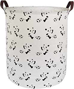 BOOHIT Cotton Fabric Storage Bin,Collapsible Laundry Basket-Waterproof Large Storage Baskets,Toy Organizer,Home Decor (Soccer Panda)