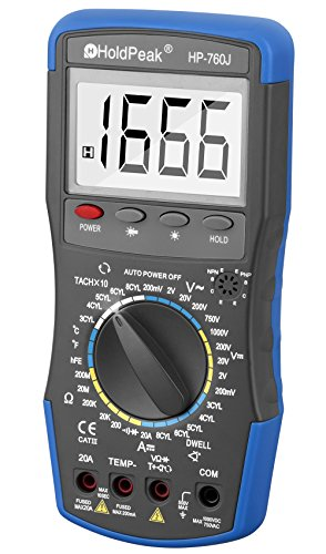 Digital Multimeter, HOLDPEAK 760J Manual-Ranging Multi Tester with Non Contact Voltage Test Volt Amp Ohm Meter with Diode and Continuity Test