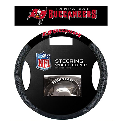 NFL Tampa Bay Buccaneers Poly-Suede Steering Wheel Cover, White, One - Tampa Mall