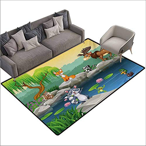 Door Rug for Internal Anti-Slip Rug Cartoon Funny Mascots Animals by The Lake Moose Fox Squirrel Raccoon Kids Nursery Theme Easy to Clean W67 xL102 Multicolor