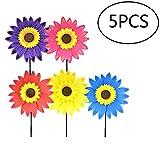 Pinwheels,Lawn Pinwheels Sunflower Shaped Windmills for Kids Garden Party Toy 5 Pack,Assortment