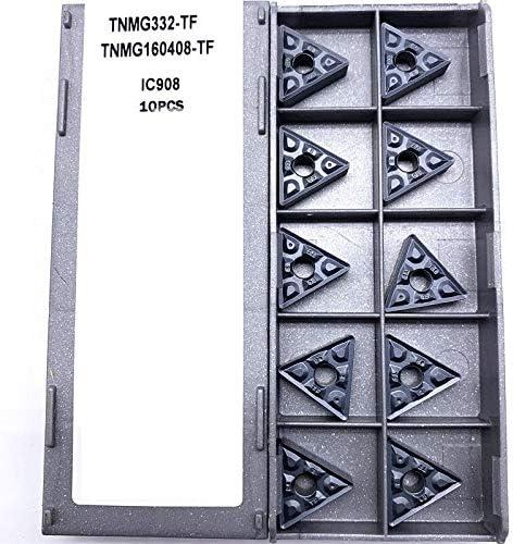 WITHOUT BRAND 10PCS / Set TNMG160404 / 08 TF IC907 / 908 Carbide Insert Lathe Cutter Externe Werkzeuge Drehen Tokarnyy Einfügen Drehen (Farbe : TNMG160408 TF IC908)