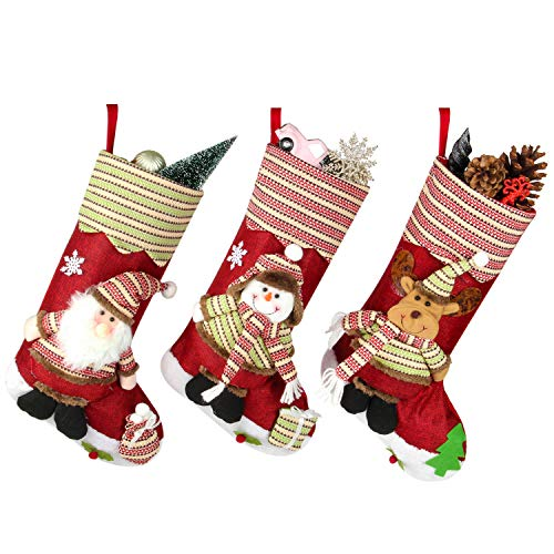 Costyleen Large Size Christmas Stockings Santa Clause Snowman Reindeer 3PC Set Xmas Decorations Gift Holding Home Decors Tree Ornament 18