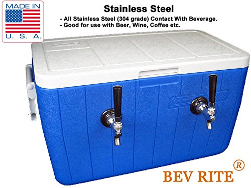 Bev Rite Double Faucet Beer Coil Cooler Jockey Box, Two 120 Feet - All SS304 Contact with Beverage