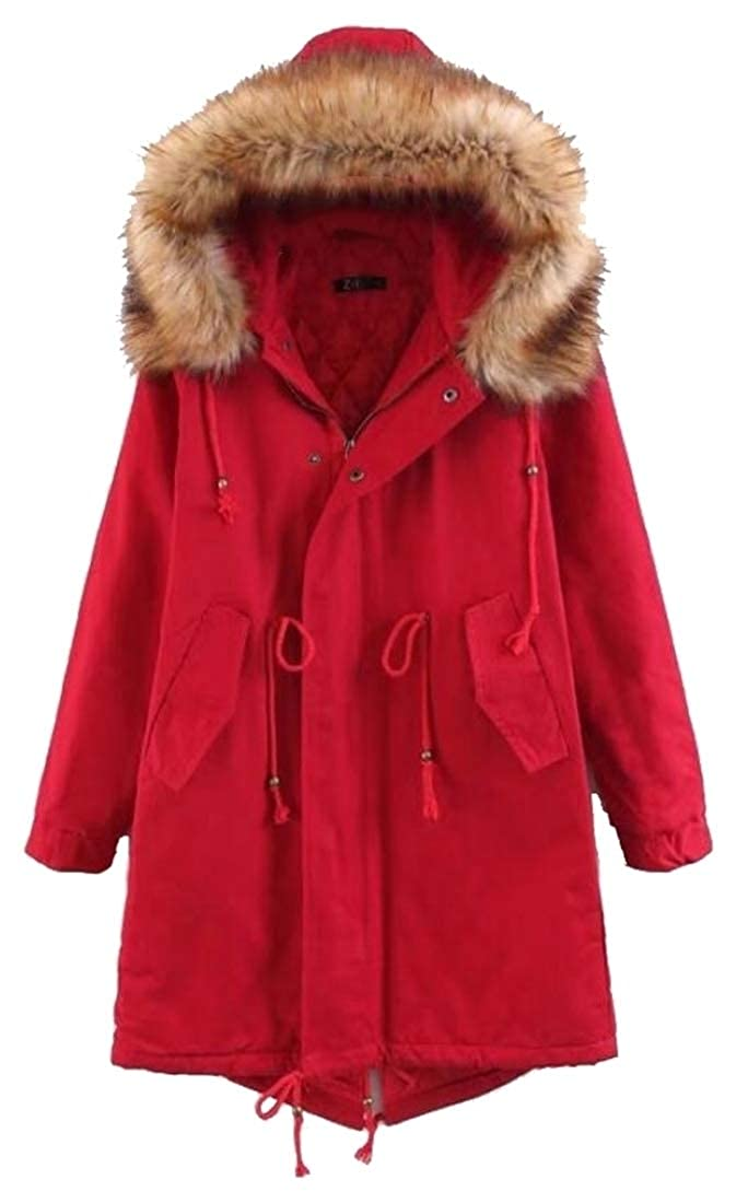 Red Sanderso Women's Long Sleeve Thicken Warm Hoodie Faux Fur Down Jacket Plus Size