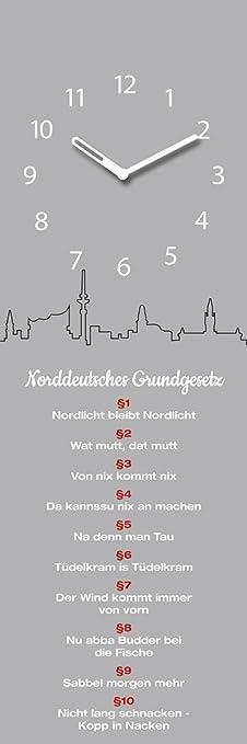 Wanduhr aus Glas, Hamburg Norddeutsches Grundgesetz, grau, 20x60 cm von Eurographics