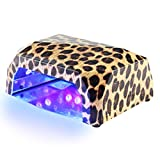 BlueTop Nail Lamp 36W CCFL LED Nail Dryer Timer Setting Automatic Curing Gel Nail Polish Diamond Shape Portable Nail Art Manicure Tool (Yellow Leopard)