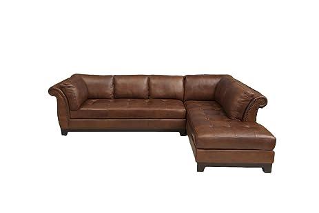 Elements Fine Corsario Top Grain Leather Sectional Bourbon 120 by 82.5 by 33-  sc 1 st  Amazon.com : top grain leather sectionals - Sectionals, Sofas & Couches