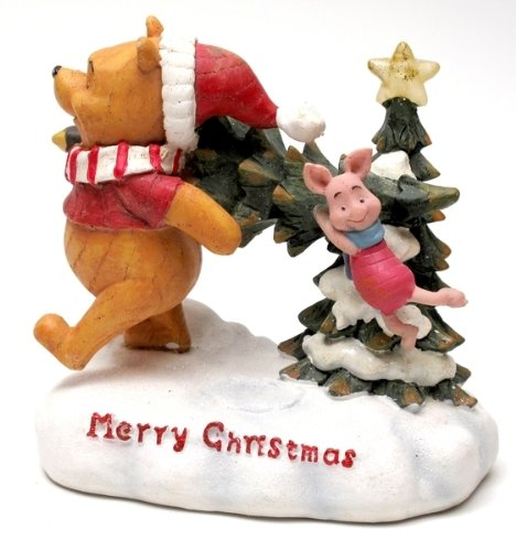 (HomeCrafts4U Christmas Tree Winnie The Pooh Piglet Figurine Statue with Lights Santa Hat Tabletop Decorative Topper Centerpiece Party)