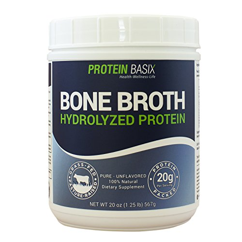 Bone Broth Protein Powder - Double Strength - Hydrolyzed Collagen (20oz/1.25lbs/25 Servings) - 100% Natural & PURE collagen powder - Grass-Fed, Pasture-Raised, Non-GMO, Gluten Free – Unflavored
