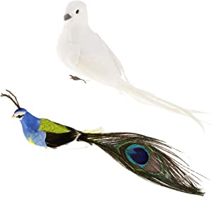 joyMerit 2Pcs Artificial Feathered Foam Peacock and White Dove, DIY Birds Crafts Ornament, for Home Garden Decoration