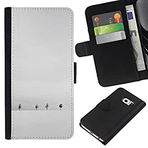 All Phone Most Case / Oferta Especial Cáscara Funda de cuero Monedero Cubierta de proteccion Caso / Wallet Case for Samsung Galaxy S6 EDGE // Winter Snow Grey White Trees Minimalist
