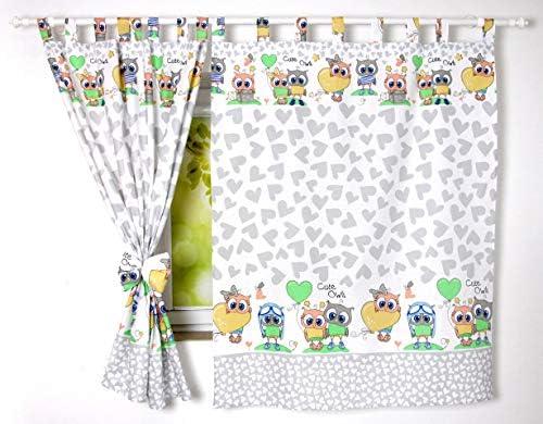 BABYLUX Kinderzimmer VORHANGE mit Schlaufen Kinder und Baby Gardinen 2x  120x160 cm (101. Eule Grau)